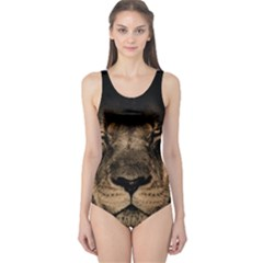 African Lion Mane Close Eyes One Piece Swimsuit
