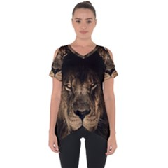 African Lion Mane Close Eyes Cut Out Side Drop Tee