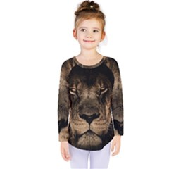 African Lion Mane Close Eyes Kids  Long Sleeve Tee