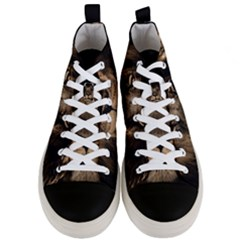African Lion Mane Close Eyes Men s Mid Top Canvas Sneakers