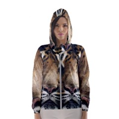 Tiger Bengal Stripes Eyes Close Hooded Wind Breaker (women)