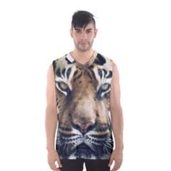 Tiger Bengal Stripes Eyes Close Men s Basketball Tank Top