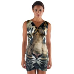 Tiger Bengal Stripes Eyes Close Wrap Front Bodycon Dress
