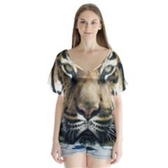 Tiger Bengal Stripes Eyes Close V Neck Flutter Sleeve Top