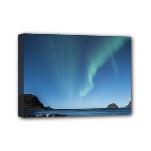 Aurora Borealis Lofoten Norway Mini Canvas 7  X 5