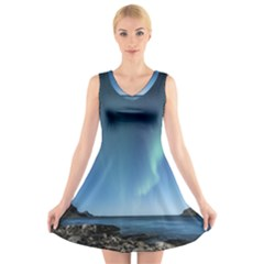 Aurora Borealis Lofoten Norway V Neck Sleeveless Skater Dress