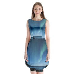 Aurora Borealis Lofoten Norway Sleeveless Chiffon Dress