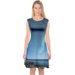Aurora Borealis Lofoten Norway Capsleeve Midi Dress