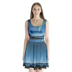 Aurora Borealis Lofoten Norway Split Back Mini Dress