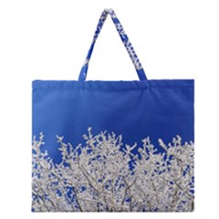 Crown Aesthetic Branches Hoarfrost Zipper Large Tote Bag