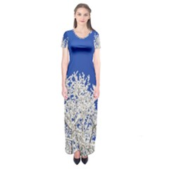 Crown Aesthetic Branches Hoarfrost Short Sleeve Maxi Dress