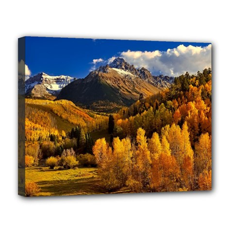Colorado Fall Autumn Colorful Canvas 14  X 11