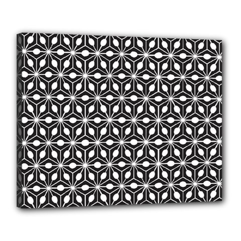 Asterisk Black White Pattern Canvas 20  X 16