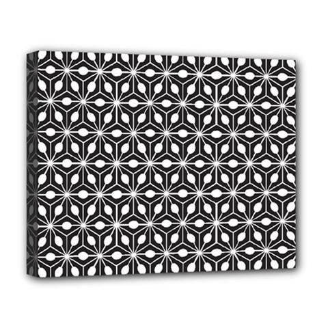 Asterisk Black White Pattern Deluxe Canvas 20  X 16