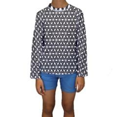 Asterisk Black White Pattern Kids  Long Sleeve Swimwear