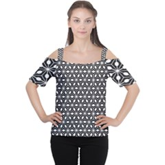 Asterisk Black White Pattern Cutout Shoulder Tee