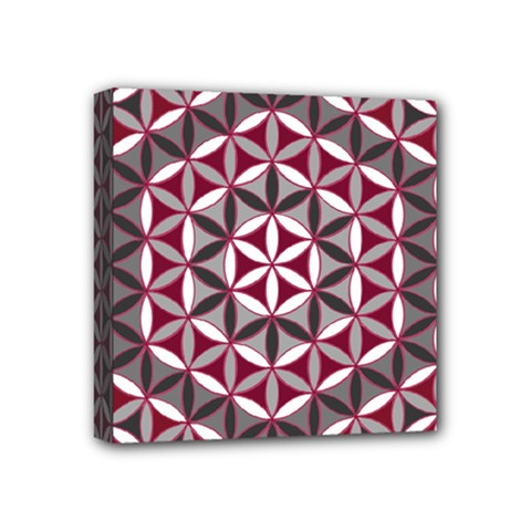 Flower Of Life Pattern Red Grey 01 Mini Canvas 4  X 4