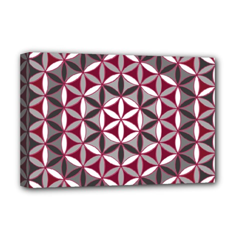 Flower Of Life Pattern Red Grey 01 Deluxe Canvas 18  X 12
