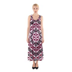 Flower Of Life Pattern Red Grey 01 Sleeveless Maxi Dress