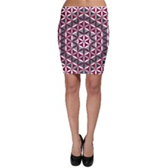 Flower Of Life Pattern Red Grey 01 Bodycon Skirt