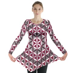 Flower Of Life Pattern Red Grey 01 Long Sleeve Tunic