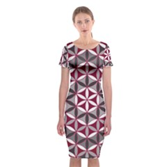 Flower Of Life Pattern Red Grey 01 Classic Short Sleeve Midi Dress