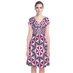 Flower Of Life Pattern Red Grey 01 Short Sleeve Front Wrap Dress
