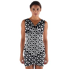 Flower Of Life Pattern Black White 1 Wrap Front Bodycon Dress