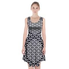 Flower Of Life Pattern Black White 1 Racerback Midi Dress