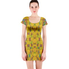 Rainbow Stars In The Golden Skyscape Short Sleeve Bodycon Dress