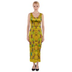 Rainbow Stars In The Golden Skyscape Fitted Maxi Dress