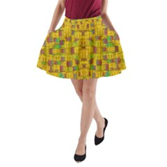 Rainbow Stars In The Golden Skyscape A Line Pocket Skirt