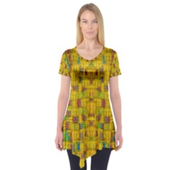 Rainbow Stars In The Golden Skyscape Short Sleeve Tunic