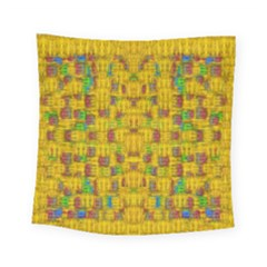 Rainbow Stars In The Golden Skyscape Square Tapestry (small)