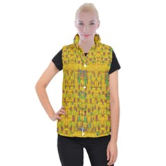 Rainbow Stars In The Golden Skyscape Women s Button Up Puffer Vest