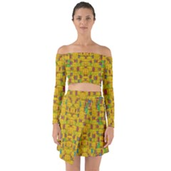 Rainbow Stars In The Golden Skyscape Off Shoulder Top With Skirt Set