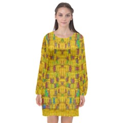 Rainbow Stars In The Golden Skyscape Long Sleeve Chiffon Shift Dress