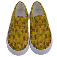 Rainbow Stars In The Golden Skyscape Kids  Canvas Slip Ons