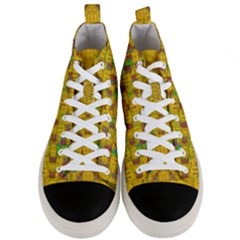 Rainbow Stars In The Golden Skyscape Men s Mid Top Canvas Sneakers