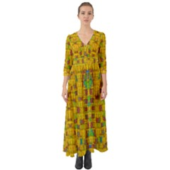Rainbow Stars In The Golden Skyscape Button Up Boho Maxi Dress