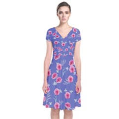 Roses And Roses Short Sleeve Front Wrap Dress