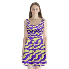Polynoise Vibrant Royal Split Back Mini Dress