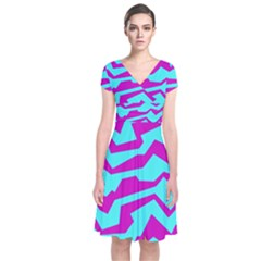 Polynoise Shock New Wave Short Sleeve Front Wrap Dress