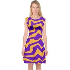 Polynoise Pumpkin Capsleeve Midi Dress
