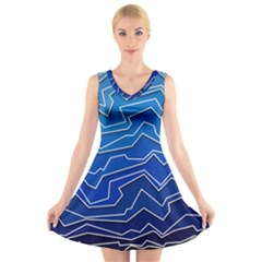 Polynoise Deep Layer V Neck Sleeveless Skater Dress