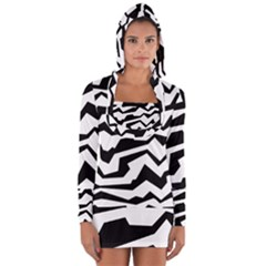 Polynoise Bw Long Sleeve Hooded T Shirt
