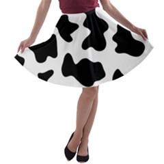 Animal Print Black And White Black A Line Skater Skirt