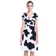 Animal Print Black And White Black Short Sleeve Front Wrap Dress