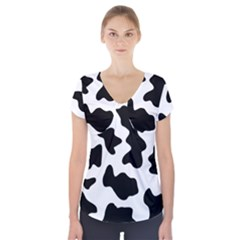 Animal Print Black And White Black Short Sleeve Front Detail Top