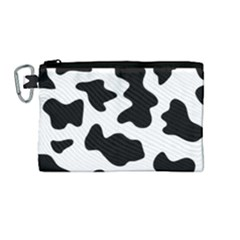 Animal Print Black And White Black Canvas Cosmetic Bag (medium)
